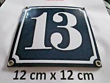 Hausnummer Emaille  Nr. 13 weisse Zahl auf blauem Hintergrund 12 cm x 12 cm