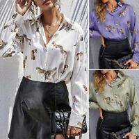 ZANZEA Womens Long Sleeve Collared Button Down Shirts Ladies Printed Tops Blouse