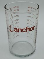 ANCHOR HOCKING GLASS MEASURING CUP RED LETTER 5 OZ 15 MIL 10 TBS 30 TSP --66
