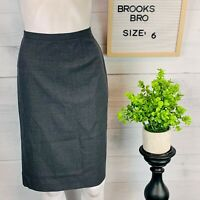 Brooks Brothers Womens 100% Wool Pencil Skirt LIned Gray Size 6 Career Wear
