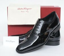 NIB Salvatore Ferragamo Aiden Black Leather Plain-Toe Oxford Dress Shoes 7 D