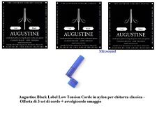 AUGUSTINE BLACK LOW Tension 3 SET CORDE NYLON x CHITARRA CLASSICA + AVVOLGICORDE