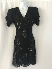 Vintage Silk Beaded Cocktail Dress Embroidered Deco Party India Sequin Petite