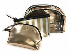 Victoria's Secret TRIO Metallic Gold Black Striped Cosmetic Make up Bag set of 3