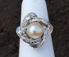 14K WHITE GOLD SWIRL PEARL LADIES RING SZ 6