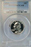 PR67CAM 1962 PCGS GRADED SILVER WASHINGTON QUARTER PROOF RARE COIN PR 67 CAMEO