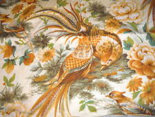 """Vintage Pillow Cover Top 5th Avenue Designs Fabric Bird Gold Green 25"""" x 17"""""""
