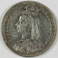 Great Britain 1890 Silver JUBILEE Crown Coin VF Cleaned VICTORIA KM#765