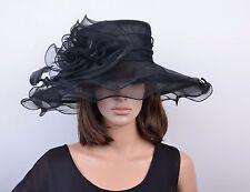 Elegante Cappello da donna NERO Organza Sposa Di Matrimonio Ornamento per testa