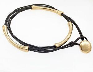 Authentic Uno De 50 Unisex  Fashion Gold Not To Be Leather Wrap Bracelet Bangle