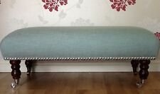 A Quality Long Footstool In Laura Ashley Dalton Duck Egg Blue Fabric