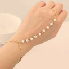 FT- Women Pearl Gold Chain Rings Bracelet Bangle with Attached Ring Slave Chain