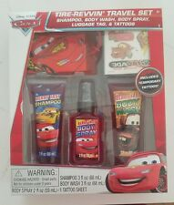Disney Pixar Cars Tire-Revvin' Travel Set Shampoo Body Wash Spray Tattos Tag New