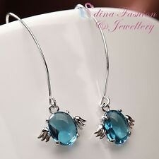 925 Sterling Silver Made With Swarovski Crystal Angel Aquamarine Dangle Earrings