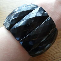 antique Victorian pressed jet black HORN BIG wide mourning cuff bracelet -73