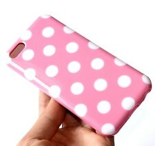 For iPhone 5C - HARD RUBBER CANDY GUMMY GEL CASE COVER PINK WHITE POLKA DOTS