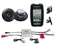 Bicycle Bike Marine iPod MP3 Input Amplifier, Black Round Speakers, Phone Holder