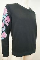 CLAUDIE PIERLOT Black Cotton Blend Floral Long Sleeve Jumper Sweater Top Sz2 M