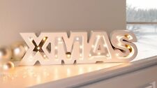 LED Deko XMAS Schriftzug Weihnachten Tischdeko weiß Schrankdeko Weihnachtsdeko