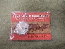 #C23,  1994  AUSTRALIAN KANGAROO 1 OZ SILVER CARDED SPECIMEN COIN