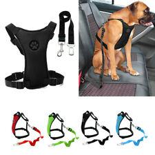 Car Dog Harness & Safety Seat Belt Travel Gear Adjustable Soft Mesh Vest Lead
