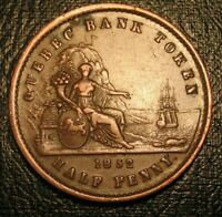 OLD Canadian Coins Highgrade 1852 Wellington One Penny token BRETON 529 PC-3