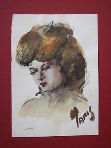 NANDO MISELLI (NAMIS):ritratto femminile 3, TECNICA MISTA  su carta pesante