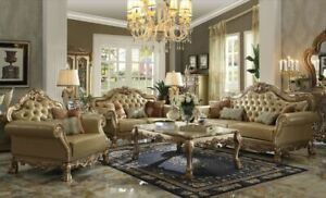 Acme Furniture Dresden Gold Patina Sofa and Loveseat Living Room Set