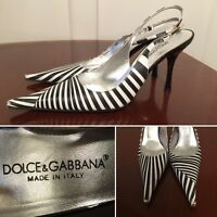 DOLCE&GABBANA Black White Zebra-Stripe Leather Point-Toe Ankle-Strap Heels Sz 8