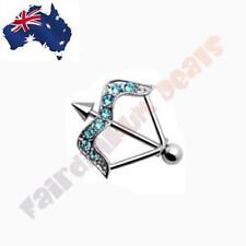 316 Surgical Steel Arrow Nipple Shield Ring with Aqua CZ Gems