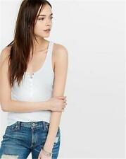 EXPRESS Medium ONE ELEVEN WHITE RIBBED HENLEY TANK shirt top (M 8-10) snaps