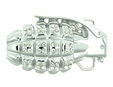 Grenade with Rhinestones Metal Belt Buckle