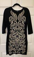Nine West Woman Sweater Dress Sz M 3/4 Sleeve Black W/ Tan Pattern