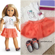 American Girl Truly Me~COCONUT CUTIE Outfit~Set~Skirt~Tee~Shoes~Barrette~Puppy~