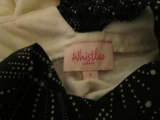 WHISTLES  BLOUSE TOP SIZE 1 SMALL VISCOSE & SILK BOW DETAIL SMALL