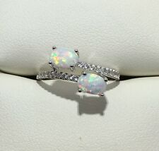 Two Stone 1 CT Fire Opal & CZ Solid 925 Sterling Silver Ring Sz 7