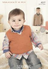 Sirdar 4577 Knitting Pattern Baby Childrens Sweater & Tank Top in Snuggly 4 Ply