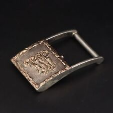 """New listing Vtg Sterling Silver - Hand Etched Scroll Letter W Initial 1"""" Belt Buckle - 24g"""