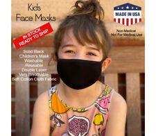 Kids Washable Reusable Face Mask Black Cotton Cloth Double Layer Masks Lot Packs