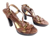Michael Kors Women's Sandals Brown 6M Open Toe Leather Sling Back Strappy Heels