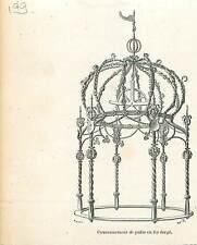 Couronnement de Puits en Fer Forgé de Gand GRAVURE ANTIQUE OLD PRINT 1880
