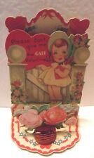 Vintage Valentine Card little girl at gate with flowers heart stand up 3-D