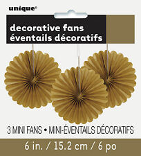 3 x Pretty Gold paper fans hanging decorations Christmas New Year Decorations