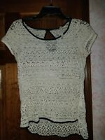 Women's ivory cream crochet Floral Lace Knit top Small