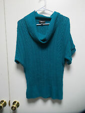 IZ BYER Teal Woven Design Sweater Top w/Wide Ribbed Cowl Neck, sz M