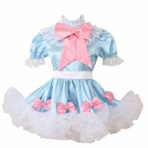 Sissy Girl Lockable Maid Bow Dress Stain Puffy Crossdress Uniform Costume @