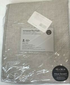 West Elm European flax linen blackout drape,natural, 48x96 pole pocket, New Pkg.