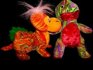 Lot of 2 Plush Dinosaurs From XYZ Toymax  Multi Colored 12 and 14 inches Soft