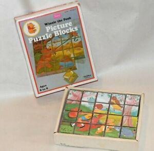 Vtg Walt Disney Winnie The Pooh Picture Puzzle Blocks Complete 6 Scenes Sears