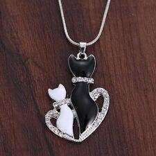 Wedding Fashion Cat Rhinestone Heart Pendant Chain Necklace Xmas Prom Jewellery